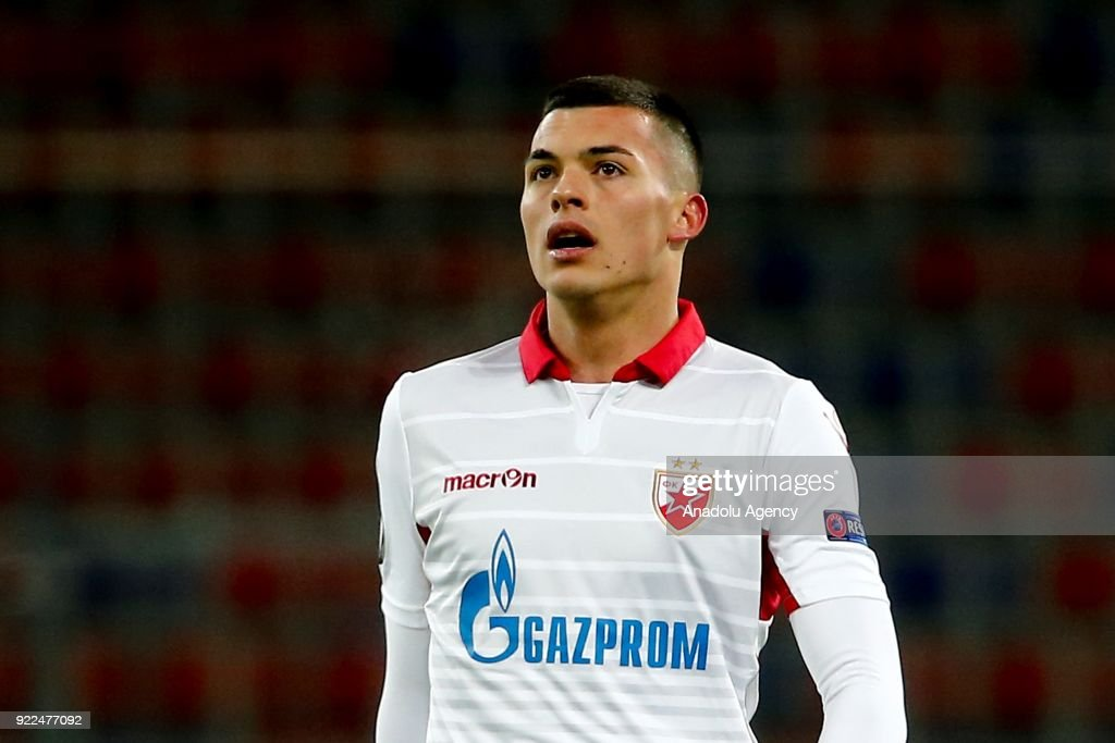 Nemanja Radonjic of Crvena Zvezda is seen during the UEFA Europa League round of 32, second leg soccer match between CSKA Moscow and Crvena Zvezda at the Stadium CSKA Moscow in Moscow, Russia on February 21, 2018.