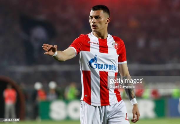 Nemanja Radonjic of Crvena Zvezda reacts during the Serbian Super League Play Off match between FK Crvena Zvezda and Partizan at the stadium Rajko...