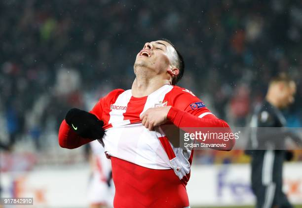Nemanja Radonjic of Crvena Zvezda reacts during UEFA Europa League Round of 32 match between Crvena Zvezda Belgrade and CSKA Moscow at the Rajko...