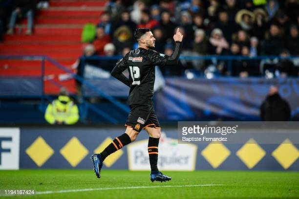 Nemanja RADONJIC of Marseille celebrates his goal during the French Cup Soccer match between US Granville and Olympique de Marseille at Stade Michel...