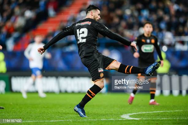 Nemanja RADONJIC of Marseille scores his goal during the French Cup Soccer match between US Granville and Olympique de Marseille at Stade Michel...