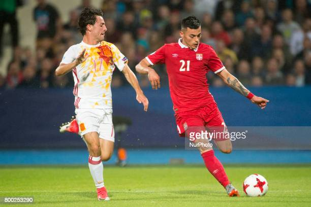Nemanja Radonjic of Serbia and Alvaro Odriozola of Spain during the UEFA European Under21 Championship 2017 Group B match between Serbia and Spain at...