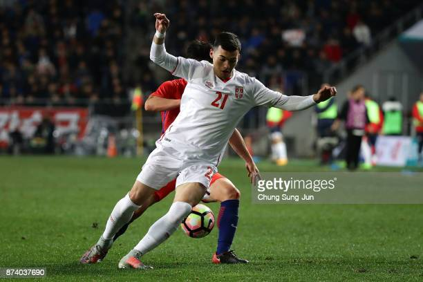 Nemanja Radonjic of Serbia in action during the international friendly match between South Korea and Serbia at Ulsan World Cup Stadium on November 14...