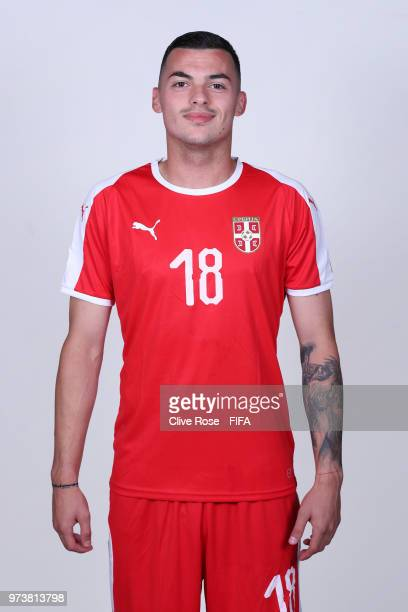 Nemanja Radonjic of Serbia poses for a portrait during the official FIFA World Cup 2018 portrait session at the Team Hotel on June 12 2018 in...