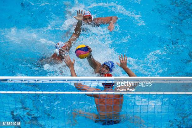 Nemanja Ubovic of Serbia scores a goal during the Men's Water Polo Group C preliminary match between Spain and Serbia on day six of the Budapest 2017...