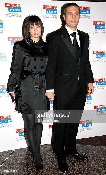 Nemanja Vidic and wife Anna Ivanovic attend the Manchester United `United for UNICEF' Gala Dinner at Manchester United Museum on November 9 2008 in...