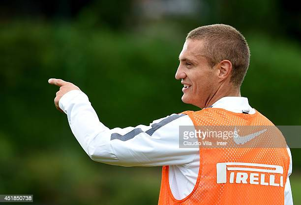 Nemanja Vidic during of FC Internazionale Milano training session at Appiano Gentile on July 8 2014 in Como Italy
