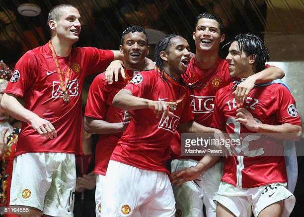 Nemanja Vidic Nani Anderson Cristiano Ronaldo and Carlos Tevez of Manchester United celebrate after winning the UEFA Champions League Final match...