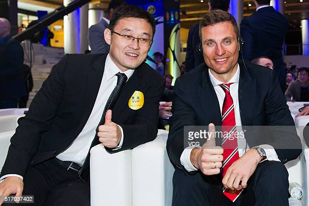 Nemanja Vidic of FC Internazionale and Chinese football player Sun Jihai attend International Champions Cup China press briefing on March 23, 2016 in...
