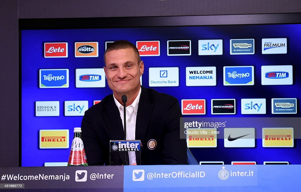 Nemanja Vidic of FC Internazionale Milano is seen during a press conference after he signed his contract with the Club at Appiano Gentile on July 4, 2014 in Como, Italy.