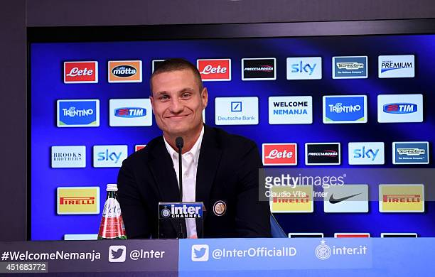 Nemanja Vidic of FC Internazionale Milano is seen during a press conference after he signed his contract with the Club at Appiano Gentile on July 4...