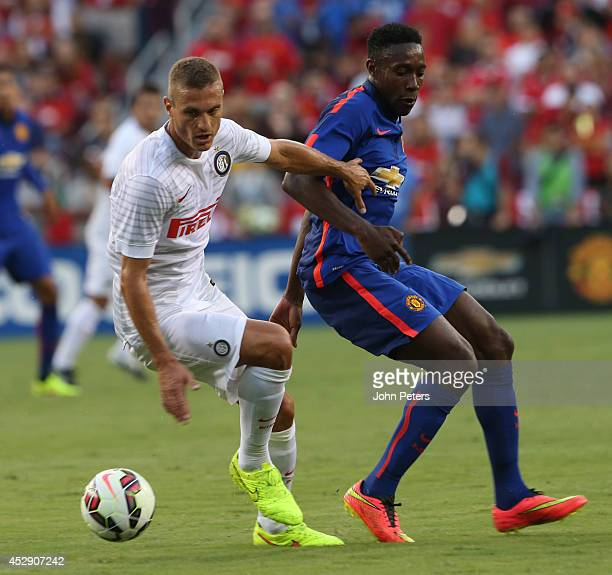 Nemanja Vidic of Inter Milan in action during the pre-season friendly between Manchester United and Inter Milan at FedExField on July 29, 2014 in...
