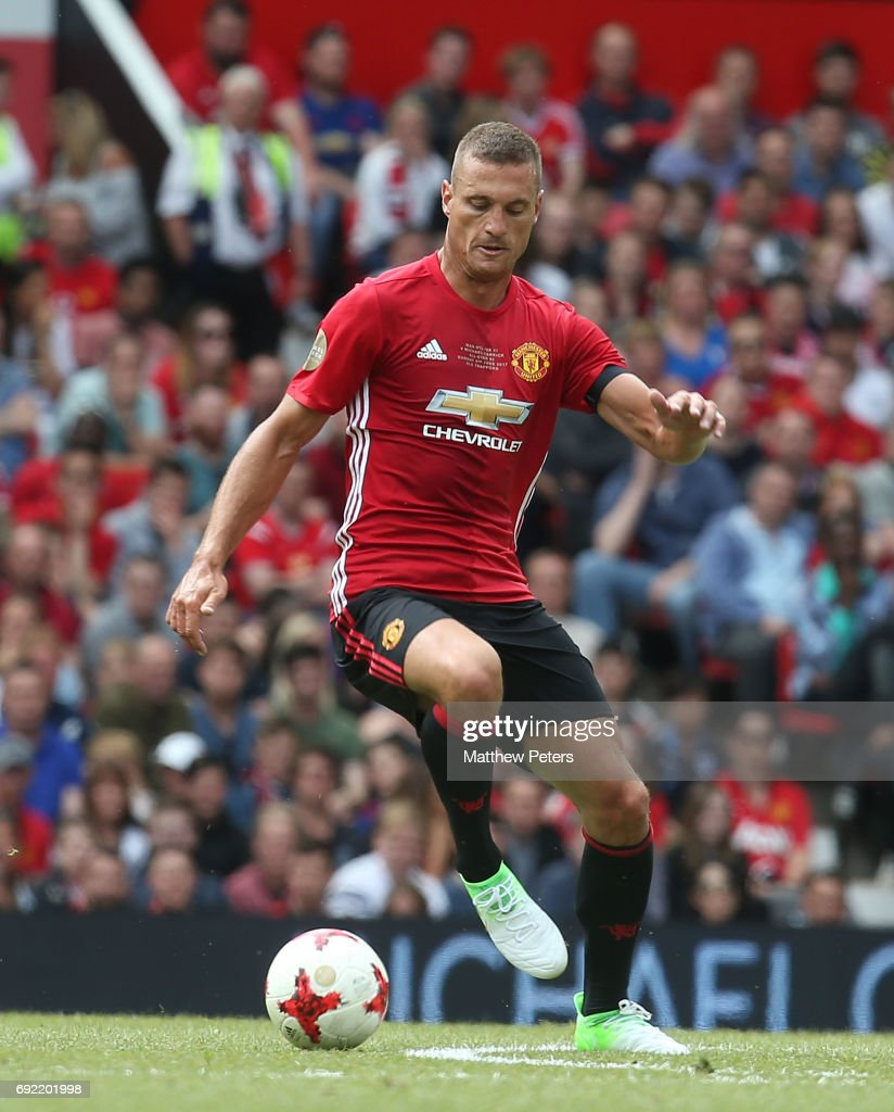 Nemanja Vidic of Manchester United '08 XI in action during the Michael Carrick Testimonial match between Manchester United '08 XI and Michael Carrick All-Stars at Old Trafford on June 4, 2017 in Manchester, England.