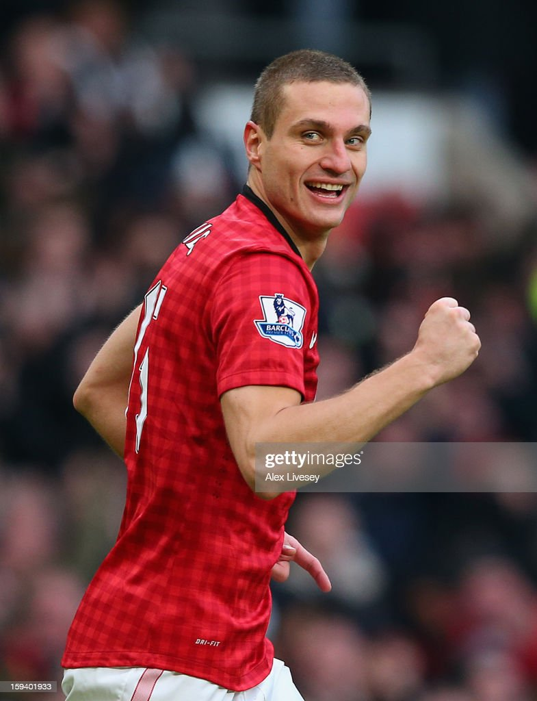Nemanja Vidic of Manchester United celebrates scoring the second goal during the Barclays Premier League match between Manchester United and Liverpool at Old Trafford on January 13, 2013 in Manchester, England.