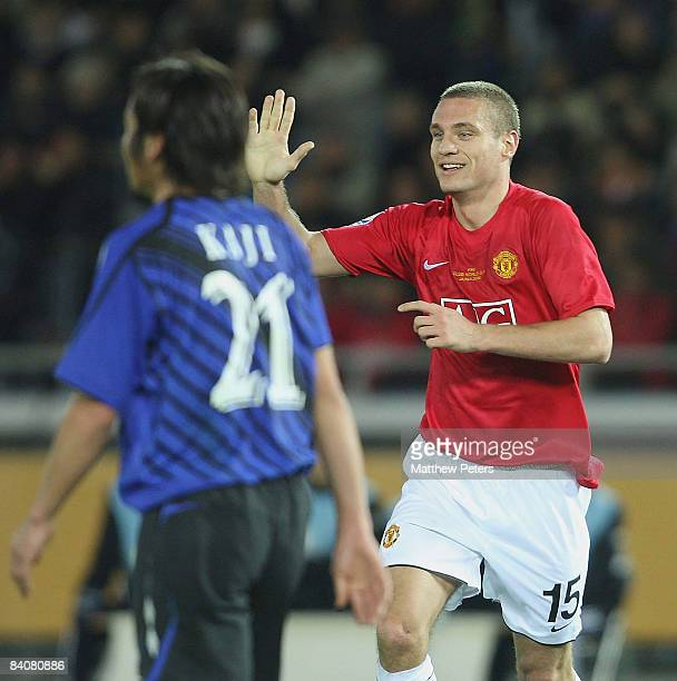 Nemanja Vidic of Manchester United celebrates scoring their first goal during the FIFA World Club Cup Semi-Final match between Gamba Osaka and...