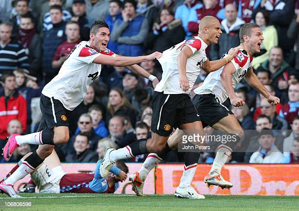 Nemanja Vidic of Manchester United celebrates scoring their second goal during the Barclays Premier League match between Aston Villa and Manchester...