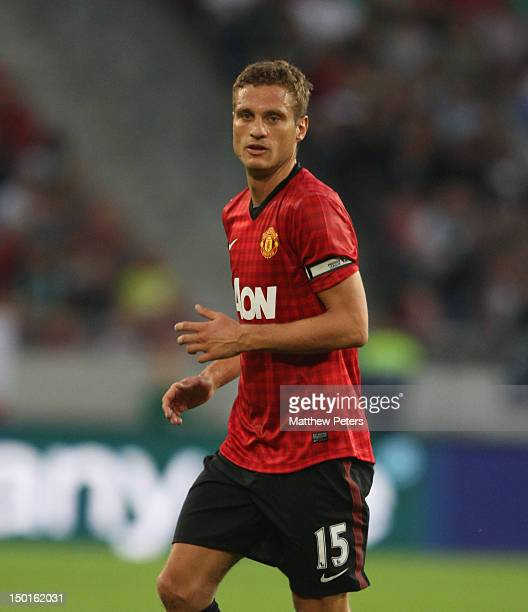 Nemanja Vidic of Manchester United in action during the pre-season friendly match between Hannover 96 and Manchester United at AWD Arena on August...