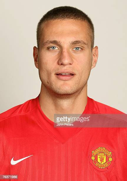 Nemanja Vidic of Manchester United poses during the club's annual preseason photocall at Carrington Training Ground on August 17 2007 in Manchester...