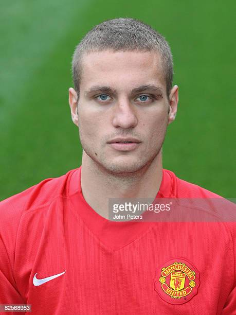 Nemanja Vidic of Manchester United poses during the club's official annual photocall at Old Trafford on August 27 2008 in Manchester, England.