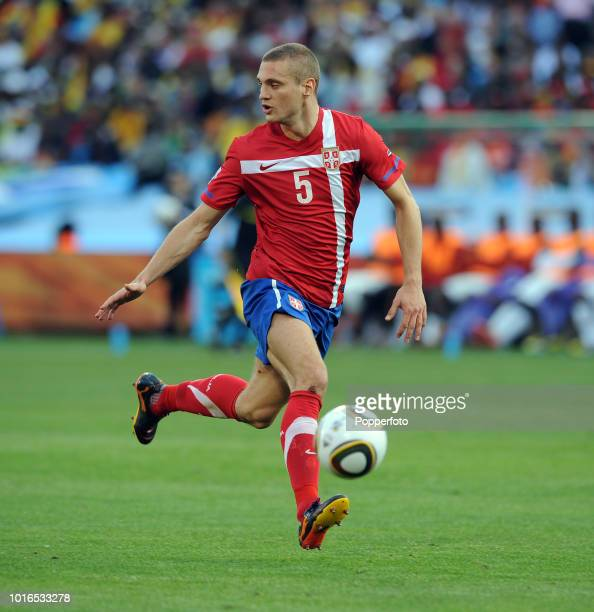 Nemanja Vidic of Serbia in action during the 2010 FIFA World Cup Group D match between Serbia and Ghana at Loftus Versfeld Stadium in Pretoria, South...