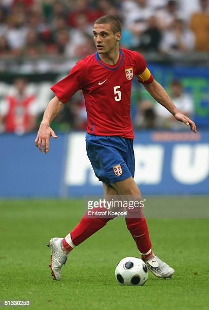 Nemanja Vidic of Serbia runs with the ball during the German international friendly match between Germany and Serbia at the stadium in Gelsenkirchen...