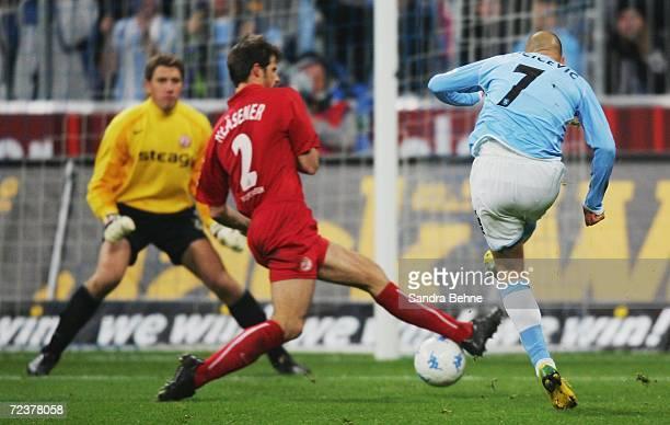 Nemanja Vucicevic of 1860 Munich scores the opening goal during the Second Bundesliga match between 1860 Munich and Rot-Weiss Essen at the Allianz...