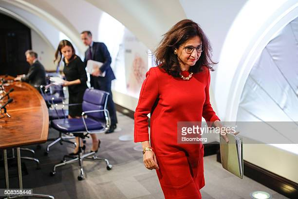 Nemat Minouche Shafik deputy governor for markets and banking at the Bank of England leaves following the bank's quarterly inflation report news...