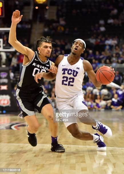 Nembhard of the TCU Horned Frogs drives to the basket against Mike McGuirl of the Kansas State Wildcats in the second half during the first round of...