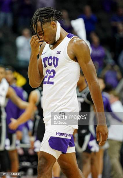 Nembhard of the TCU Horned Frogs walks off the court after their 5349 loss to Kansas State Wildcats in the first round of the Big 12 Basketball...