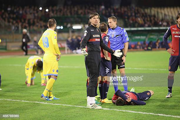 Nenè of Cagliari injured during the Serie A match between Cagliari Calcio and SSC Napoli at Stadio Sant'Elia on December 21 2013 in Cagliari Italy