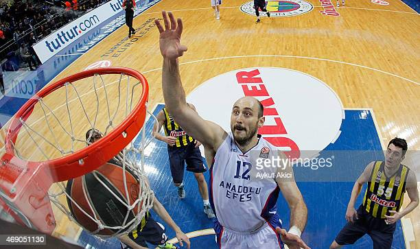 Nenad Krstic #12 of Anadolu Efes Istanbul in action during the Turkish Airlines Euroleague Basketball Top 16 Date 14 game between Fenerbahce Ulker...