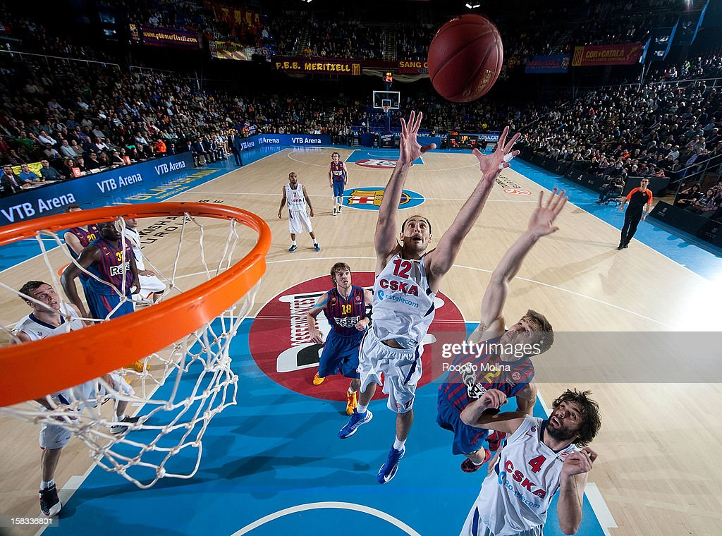 Nenad Krstic, #12 of CSKA Moscow competes with Xavier Rabaseda, #22 of FC Barcelona Regal during the 2012-2013 Turkish Airlines Euroleague Regular Season Game Day 10 between FC Barcelona Regal v CSKA Moscow at Palau Blaugrana on December 13, 2012 in Barcelona, Spain.