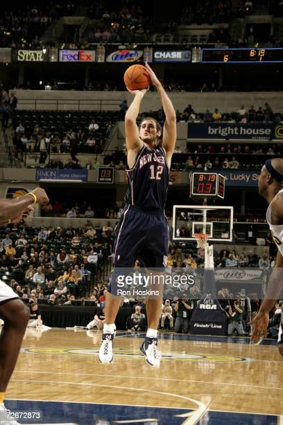 Nenad Krstic of the New Jersey Nets shoots against the Indiana Pacers at Conseco Fieldhouse on November 17, 2006 in Indianapolis, Indiana. The Nets...