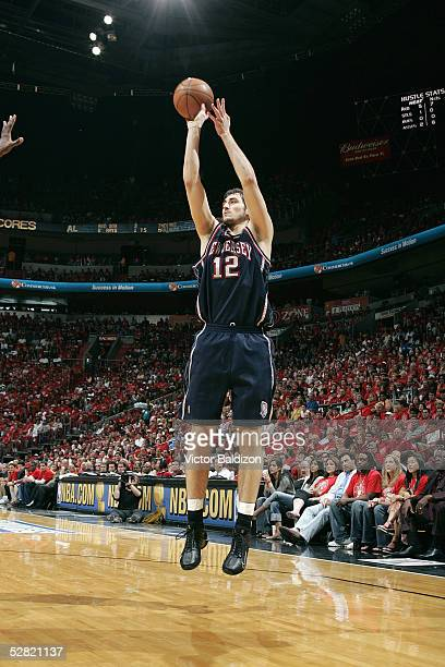 Nenad Krstic of the New Jersey Nets takes a jump shot in Game one of the Eastern Conference Quarterfinals with the Miami Heat during the 2005 NBA...