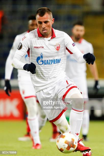 Nenad Krsticic of Crvena Zvezda in action during the UEFA Europa League round of 32 second leg soccer match between CSKA Moscow and Crvena Zvezda at...