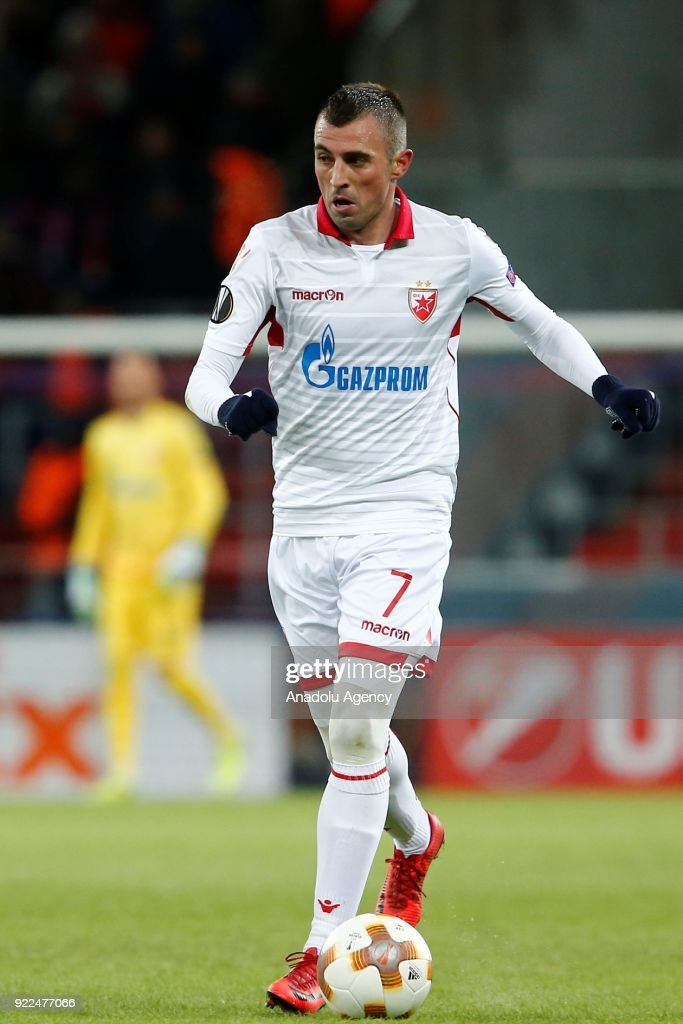 Nenad Krsticic of Crvena Zvezda is seen during the UEFA Europa League round of 32, second leg soccer match between CSKA Moscow and Crvena Zvezda at the Stadium CSKA Moscow in Moscow, Russia on February 21, 2018.