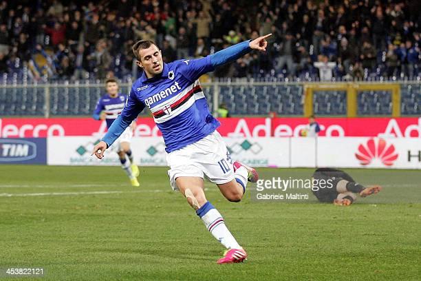 Nenad Krsticic of UC Sampdoria celebrates after scoring a goal during the Tim Cup match between UC Sampdoria and Hellas Verona FC at Stadio Luigi...