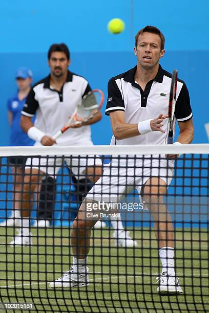 Nenad Zimonjic of Serbia and Daniel Nestor of Canada during their doubles semi final match against Karol Beck of Slovakia and David Skoch Czech...