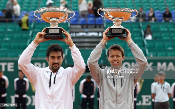 Nenad Zimonjic of Serbia and Daniel Nestor of Canada with the winners trophy after defeating Max Mirnyi of Belarus and Mahesh Bhupathi of India...