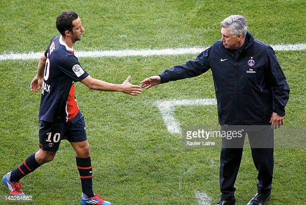 Nene and Carlo Ancelotti of Paris SaintGermain FC during the French League 1 match between Paris SaintGermain FC and Sochaux Montbeliard FC at Parc...