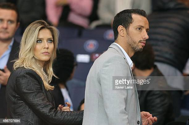 Nene and his wife attend the French Ligue 1 between Paris SaintGermain FC and AS Monaco FC at Parc Des Princes on October 05 2014 in Paris France