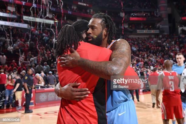 Nene Hilario of the Houston Rockets and DeAndre Jordan of the LA Clippers hug after the game on March 15 2018 at the Toyota Center in Houston Texas...