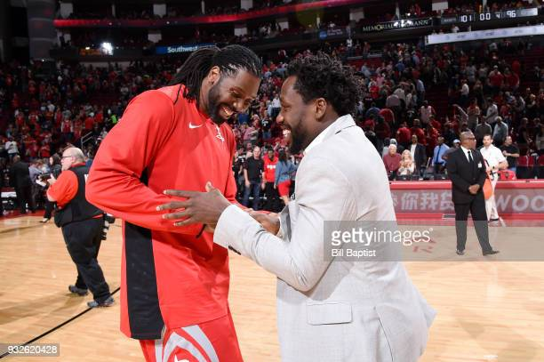 Nene Hilario of the Houston Rockets and Patrick Beverley of the LA Clippers talk after the game on March 15 2018 at the Toyota Center in Houston...