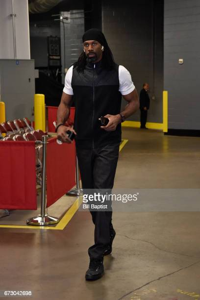 Nene Hilario of the Houston Rockets arrives before the game against the Oklahoma City Thunder in Game Five of the Western Conference Quarterfinals of...