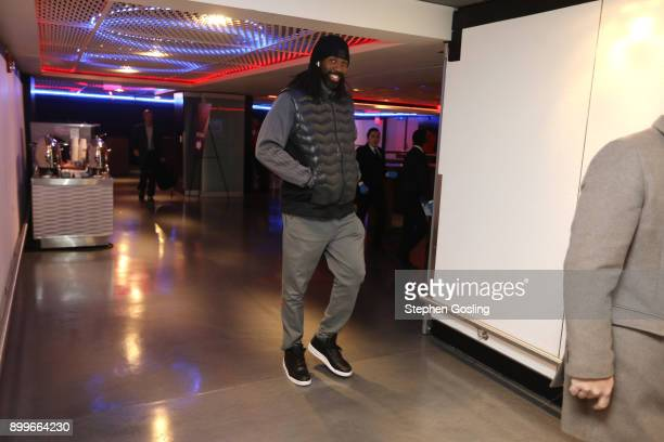 Nene Hilario of the Houston Rockets arrives before the game against the Washington Wizards on December 29 2017 at Capital One Arena in Washington DC...