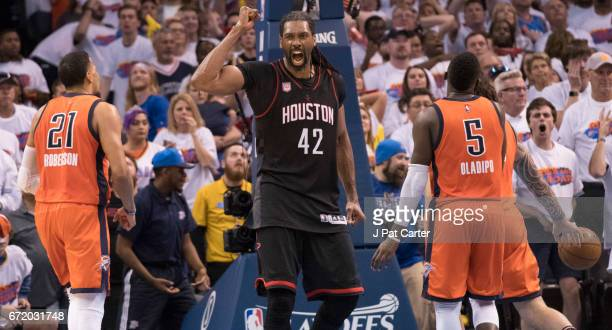 Nene Hilario of the Houston Rockets celebrates at the end of Game Four against the Oklahoma City Thunder in the 2017 NBA Playoffs Western Conference...