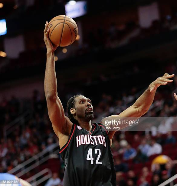 Nene Hilario of the Houston Rockets drives to the basket against the Oklahoma City Thunder at Toyota Center on January 5 2017 in Houston Texas NOTE...