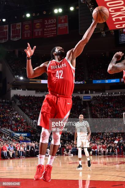 Nene Hilario of the Houston Rockets gets the rebound against the Milwaukee Bucks on December 16 2017 at the Toyota Center in Houston Texas NOTE TO...