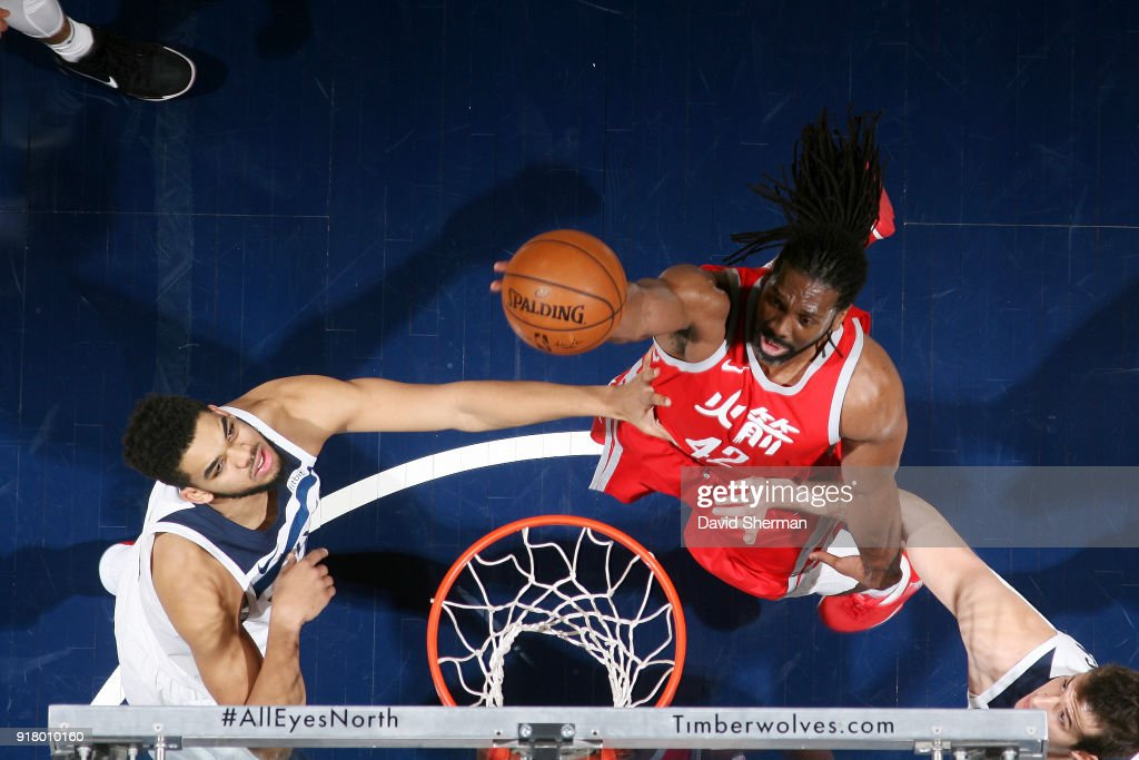 Nene Hilario #42 of the Houston Rockets goes to the basket against the Minnesota Timberwolves on February 13, 2018 at Target Center in Minneapolis, Minnesota.