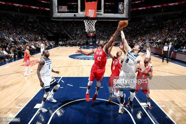 Nene Hilario of the Houston Rockets goes up for a rebound against Nemanja Bjelica of the Minnesota Timberwolves on February 13 2018 at Target Center...